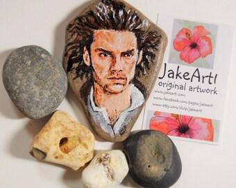 Poldark, painted stone, Painted pebble, fan art, OOAK, original art, Rock art, Ross Poldark, Miniature portrait