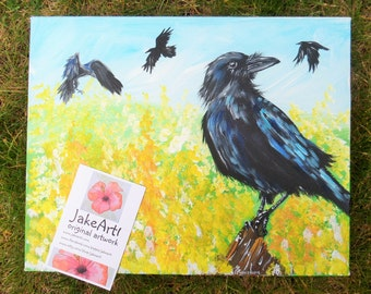 Crows and buttercups wildlife crow art crow canvas art original crow art