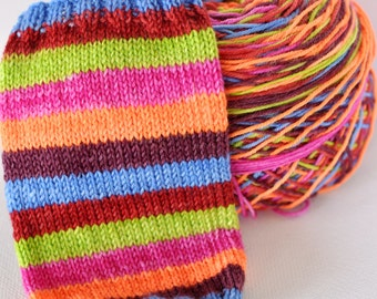 Hand Dyed Self Striping Yarn - Pippi Goes To The Circus - Beartooth Base