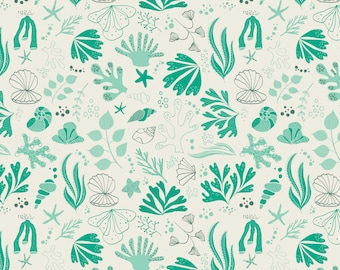 Camelot Fabrics - Under the Sea - Turquoise Sea Creatures - Fabric by the Yard