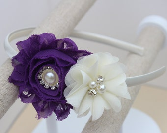 Violet flower headband, violet hair accessory, violet toddler headbands, violet and ivory headbands, purple hair accessory violet flowers