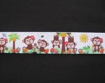 "monkey grosgrain ribbon 7/8"" per 1 metre scrapbooking card making craft hair"