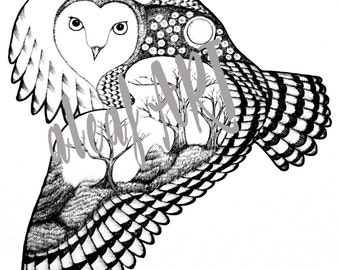 OWL DRAWING ORIGINALPRINT