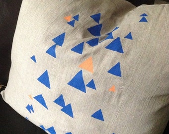 Orange & Blue Screen Printed Triangles on an Oatmeal Linen Cushion / Pillow Cover, Australian Made