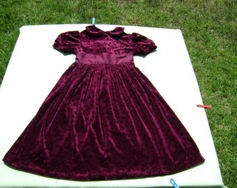 vintage st michael from mark and spencer girls christmas dressy dress size 7 years mulberry velvet with floral design