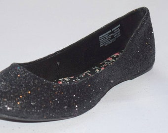 Black Glitter Flats Womens and Girls Any Size Any Color