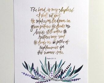 Hand Lettered Art Print Psalm 23:1-3