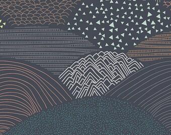 Forest Hillside Fabric - Hello Bear Fabric - Summit Twilight - Fabric By the Half Yard