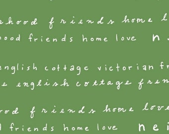 Home Sweet Home Word Fabric - Neighborhood by Alyson Beaton for Windham Fabrics - Words in Green - Fabric by Half Yard
