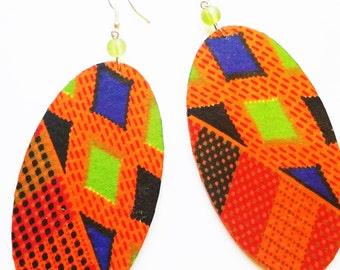 Kente Fabric Earrings,Dangle & Drop Earrings, Wood Jewellery, Oval Earrings, Afrocentric Earrings, Afro, Orange Earrings, African Fabric.