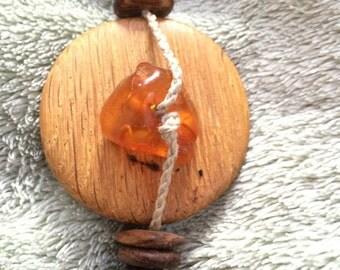 Vintage Wood & Amber necklace