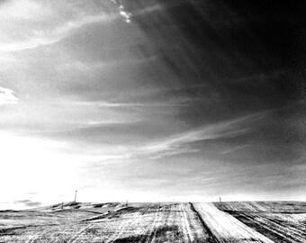 black and white light on land