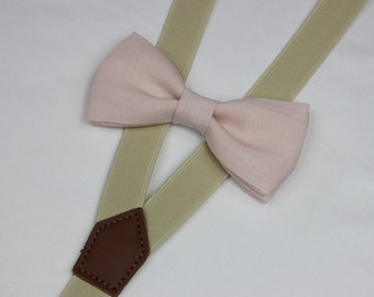 Light pink linen bowties,BOWTIE SUSPENDER SET,cream suspenders,infant bowties,toddler bowtie,boy bowtie,men bowties,wedding bowtie