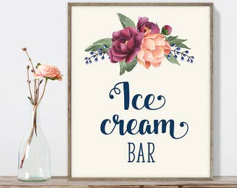 Ice Cream Sign DIY, Ice Cream Bar Sign / Burgundy Peony Berry Bouquet, Peach Blush Pink Ranunculus, Fall Wedding ▷ Instant Download JPEG