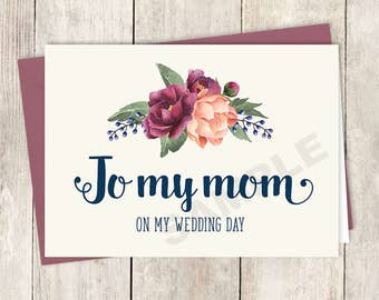 To My Mom Card DIY Printable, On My Wedding Day / Burgundy Peony Berry Bouquet, Peach Blush Pink Ranunculus, Fall ▷ Instant Download PDF