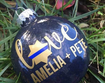 Thin Blue Line glitter ornament