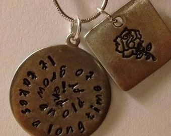 Friendship gift necklace - it takes a long time to grow an old friend with rose design handmade