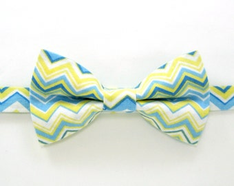 Yellow/Blue chevron bow tie,Easter bow tie,Wedding bow tie,Party bow tie for Men ,Toddlers ,Boys,Baby