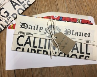 Newspaper Invitation -- Superhero Invitation -- Daily Planet Invitation -- Calling all Superheroes