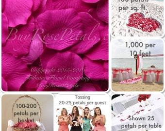500 Rasberry Rose Petals - Silk Rose Petals,  Flower Petals