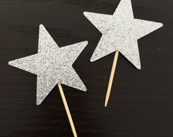 12 Star cupcake toppers .. glittery cupcake toppers .. birthday party