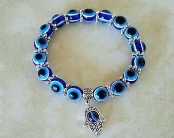 SALE ~ Evil Eye Hamsa Hand Charm Glass Bead Bracelet Elastic 7 Inches