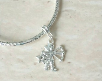 Sagittarius Archer Rhinestone Charm Silver Plated Lined Bangle Bracelet 7.5 Inches