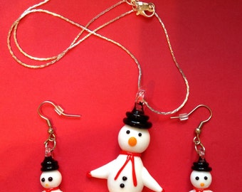 Snowman Lampwork Christmas Necklace & Earring Set