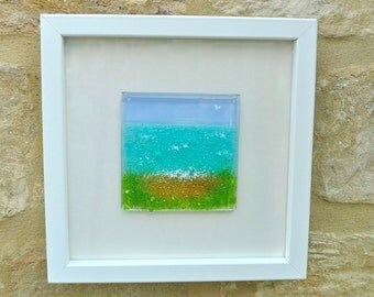 Framed beach picture. Fused glass beach picture. Beach decor.