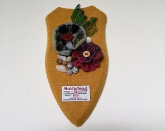 Unique Genuine Harris Tweed Wall Plaque Decorated With Handmade Tweed Flowers