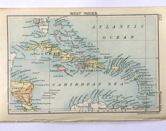 Vintage map of the West Indies (genuine 1891 antique) handcut with custom personalised words