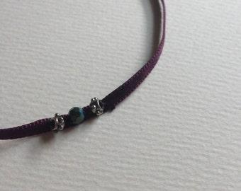 Purple Thin Ribbon Choker
