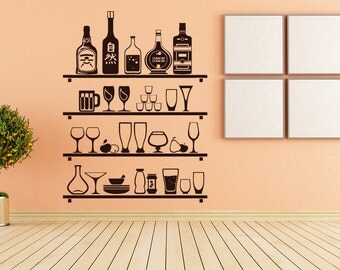 Alcohol Wall Decal Etsy - Vinyl stickers for glass bottles