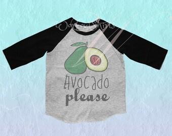 Avocado shirt Toddler tshirt /raglan shirt kids clothing for 12M/2T/ 4T/ 6-10 years