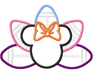 Character Thanksgiving Girl Miss Mouse Football Turkey with bow Embroidery Applique Design