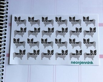 Black & White Long Haired Chihuahua Stickers