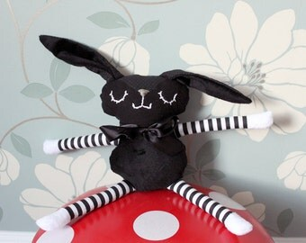 BLACK BUNNY - Nursery Toy Baby/Toddler gift
