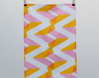 Tea Towel - Orange & Pink - Friendly NAOMI Print - Colourful Patterned Screen printed Kitchen Accessories