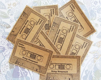 Set of 32 Small Song Request Cards - Retro Cassette - 80's Party - Wedding Reception - Can Be Personalised