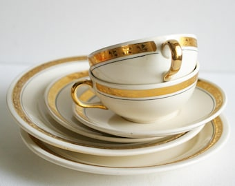 VILLEROY BOCH Lovely Gold Pattern mid century tea set, white and gold tea set, French vintage, French decor –coffee set