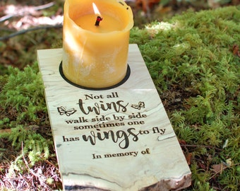 Remebrance Candle Holder - Not All Twins Walk Side by Side