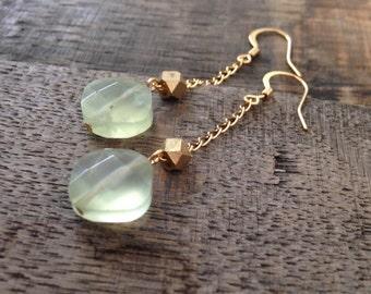 Prehinite Dangle Earrings