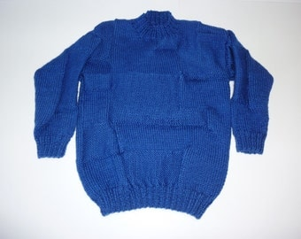 Knitted child sweater. Knitted child jumper. Knitted boys jumper. Blue sweater. Size 4 sweater. Hand knit sweater. Hand knit jumper. girls