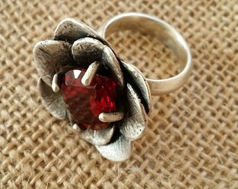 Ruby, stone, Sterling silver, ring.