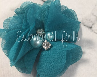 "Teal Chiffon Flower with Pearls, 2"" Chiffon Flower, Pearls, Flower,  Headband Accessories, Craft Suppliers,"
