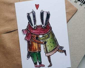 badgers (postcard A6)