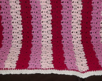 "Crochet Blanket/Throw in Shades of Pinks Size 36"" x 30"""
