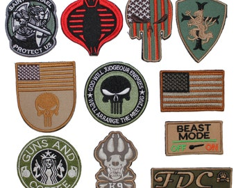 Velcro Patch EMBROIDERED Military Tactical Army Flag, Cobra, Michael, Skull, Dog K9