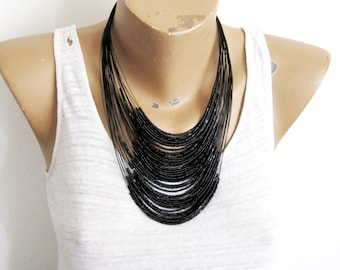 Solora  Beaded Necklace,Black Glass Bead Necklace,Costume Necklace,Costume Jewelry