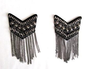 Silver Epaulet/Metalic Shoulder Pads/  Silver Chain Epaulet/ 2PCS. Shoulder Epaulette Handmade Diy Craft/ Sew on